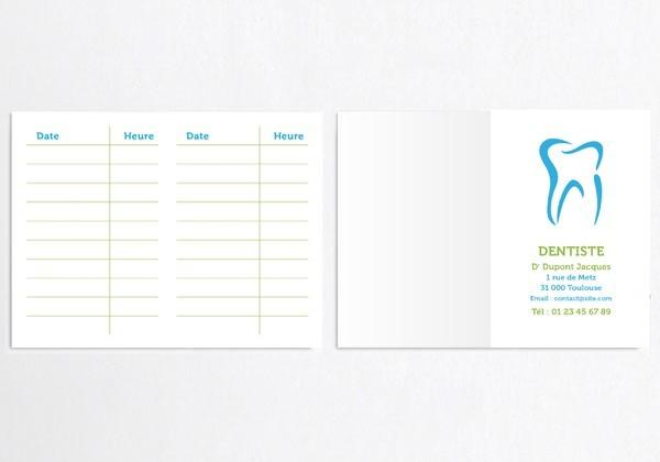 Cartes de RDV doubles n°5 Dentiste