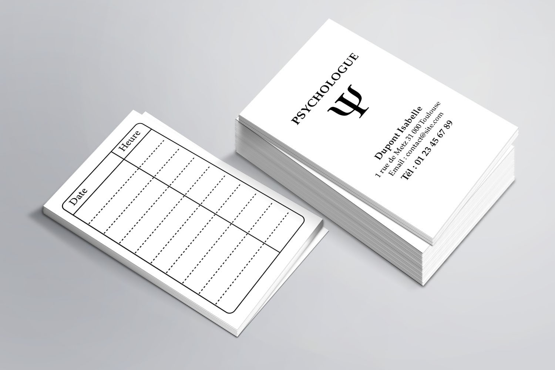Cartes de RDV simple N°3 Psychologue