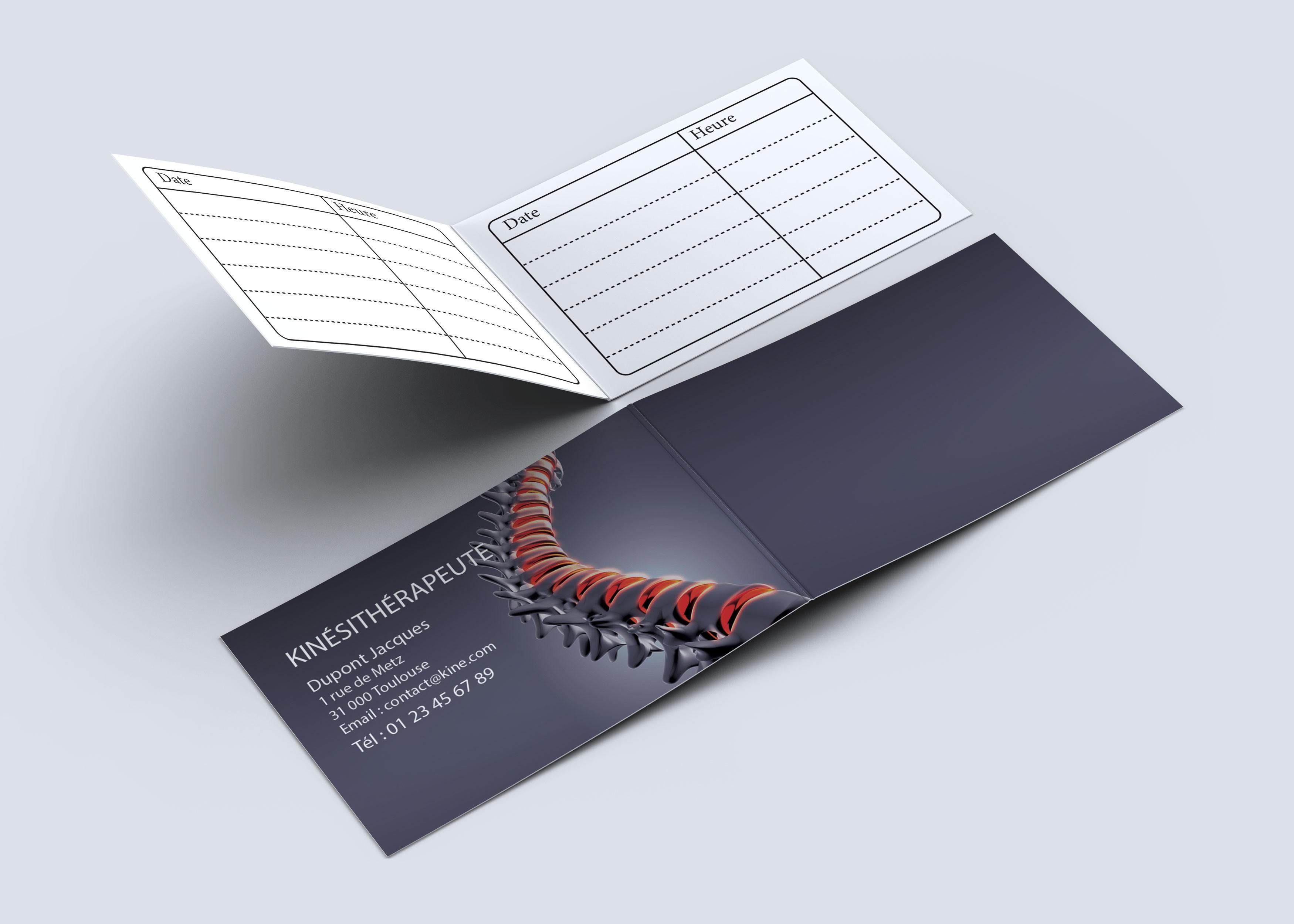 Cartes de RDV doubles n°27 Kiné